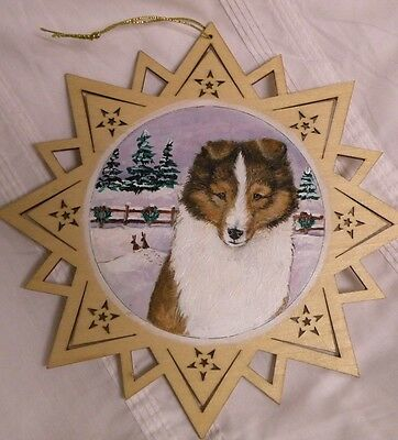 Sable Collie Sheltie Shetland Sheepdog Hand Painted Christmas Quilt Ornament OAK