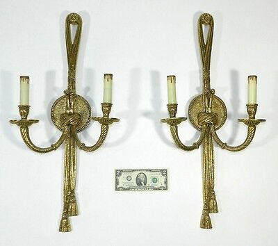 Vintage Rococo Wall Sconce Bronze Pair