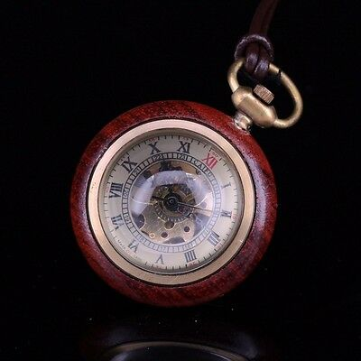Trim Wood Crystal Glass Ball Yellow Gold Copper Skeleton Mechanical Pocket Watch