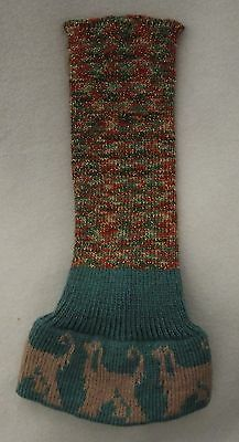 AFGHAN HOUND dog KNITTED SNOOD GREEN / BROWNS colour with LIGHT GOLD dogs