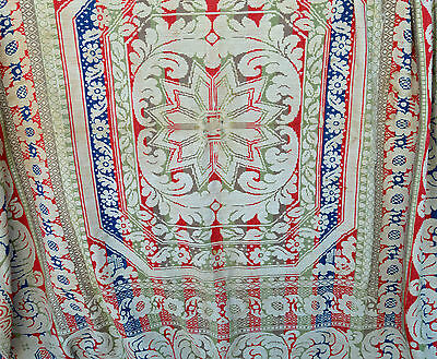 Antique Victorian 1860s ? Woven Jacquard Coverlet Red White Cream Green