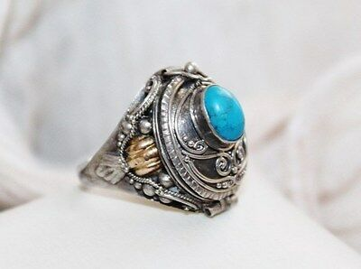 Etruscan Vintage granulated STERLING silver 14k gold turquoise poison ring sz 7