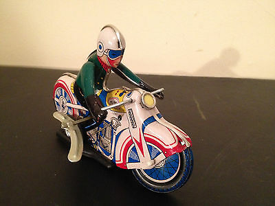 Vintage Wind-Up Stunt Motorcycle Rider Tin Toy - Great Condition - Works Perfect