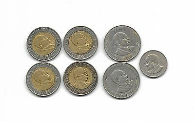 Kenya lot of 7 coins 4 x 20 Shillings 2 x 1 Shilling 1 x 50 cent