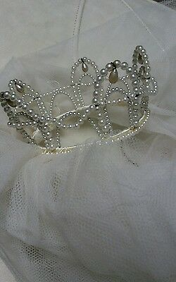 vintage pearl bridal crown veil headpiece 50s 60s