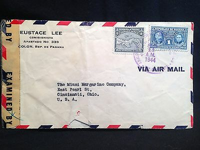 Panama Air Mail 1944 WWII Censored Cover Colon Panama to USA