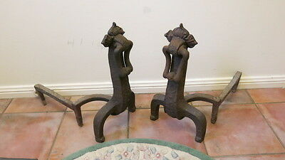 Antique Pair Cast Iron Heavy Fire Dog Andirons Fire Place Open Grate RM Williams