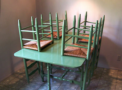 Oblong Drop Leaf TABLE and 4 Ladderback CHAIRS - 1960's - Avocado Enamel Seats 6