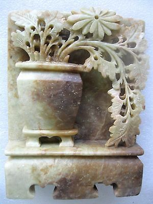 Antique Chinese Soapstone ORNAMENT FLOWER POT HAND CARVED VGC