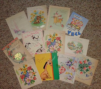 A Dozen Vintage Get Well Cards from 1940's and '50's Greeting Cards