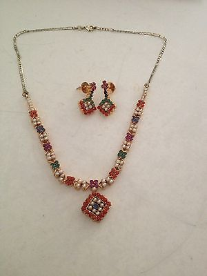 Genuine Natural Rubies, Emeralds And Sapphires Necklace And Earrings Set