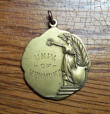 Gold Filled UVM Univ of Vermont Womens Athletics Medal 1914