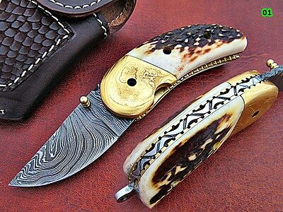 Damascus Knives with Gold Plated Bolster