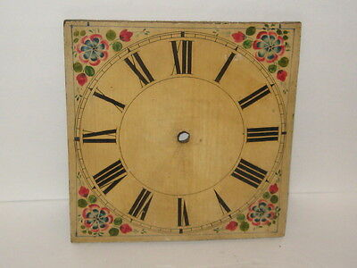 Antique 19th c H. Painted Wooden Grandfather Clock Face With Flowers 12 1/4 Tole
