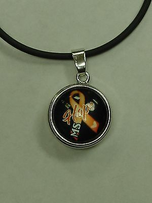 MS Awareness Snap Jewelry Black Cord Necklace MS Hope like ginger snaps