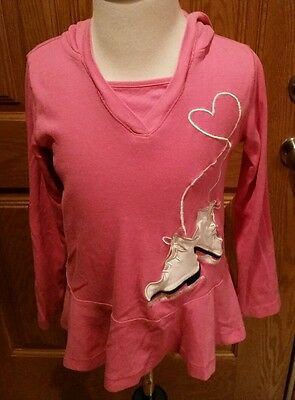 Little girls pink Gymboree hooded ice skating shirt size 7