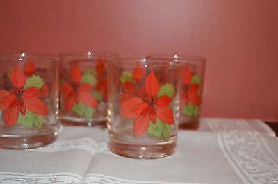 Set of 4 Block Poinsettia Old Fashioned Glasses Barware Christmas Holiday