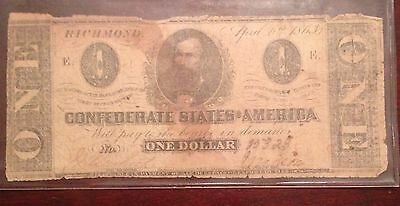 1863 Confederate States of America $1 Note Richmond Virginia!!!