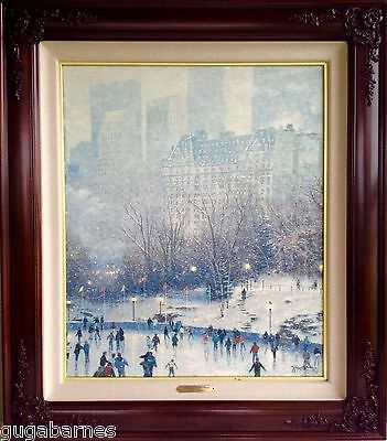 Sold-Out THOMAS KINKADE framed SKATING IN THE PARK Canvas S/N 24x20 w/ CoLA