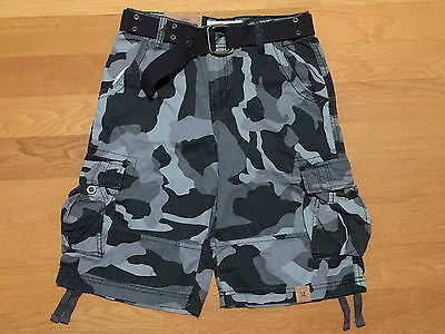 Urban Pipeline Boys Belted Cargo Shorts Gray Camouflage, Size 14 ~ NWT!
