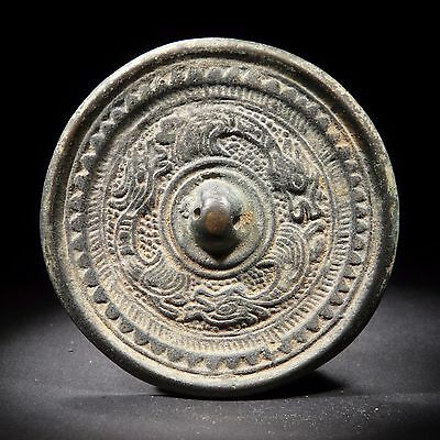 53#Rare Ancient Chinese Dragon Bronze Mirror D:8.2CM