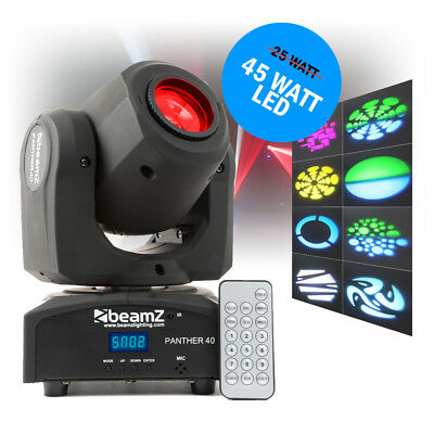 BeamZ Panther 40 LED Spot Light IR DMX Moving Head Gobo DJ Disco Stage Lighting