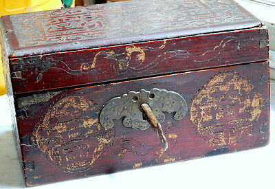 Antique Chinese Tea Caddy Box Rare With Key 19Th C.