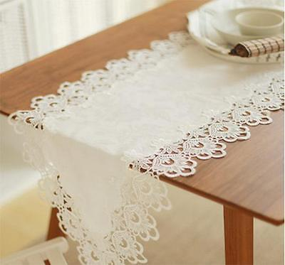 Elegant Ivory Lace Table Runner Cloth Guipure Embroidery Wedding Lace Runner