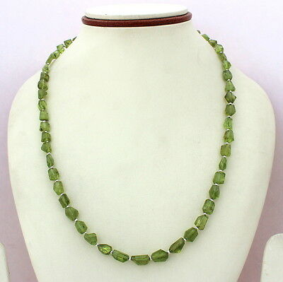 Natural Peridot Gemstone 925 Solid Sterling Silver Beaded Necklace 24 Grams