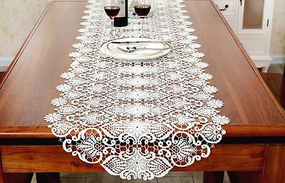 Hollowed Cotton Lace Table Runner Vintage Guipure Lace Table Runner Home Decor