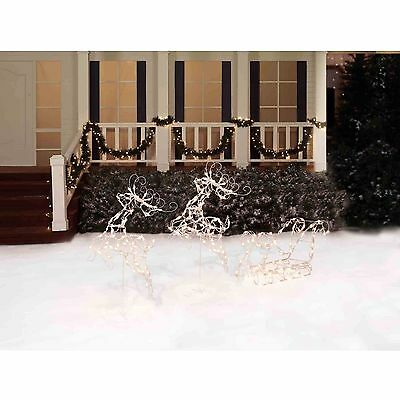 """Two Deer with Sleigh Lighted Christmas Sculpture - 26"""" Tall"""