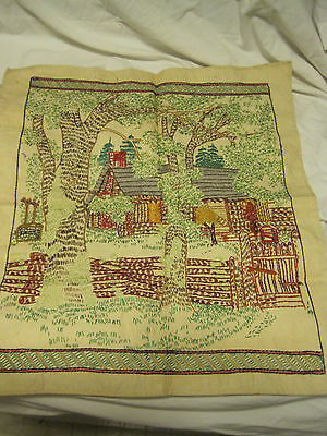 VTG 1940'S? COTTAGE/FLOWERS Hand Embroidered Needlework Finished Picture