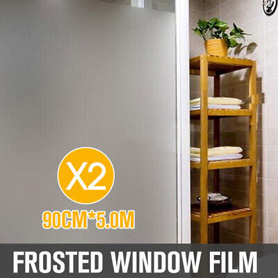 2X 90cm*5m Sand Blast Clear Privacy Frosted Frosting Window Glass Film Removable