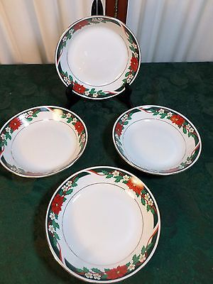 4 Beautiful Teinshan Deck The Halls Fine China Floral Designed Soup Bowls