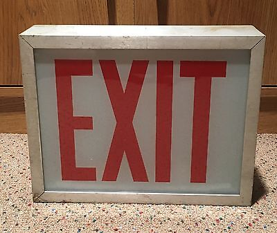 Vintage Industrial Metal Enclosed Glass Exit Sign