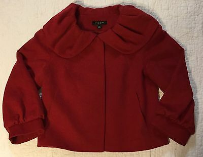 Ann Taylor Blossom Collar Red Jacket Size XS  HOLIDAYS