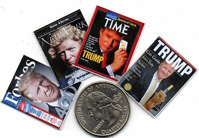 4 Miniature  -  DONALD TRUMP   MAGAZINES - Dollhouse 1:12 scale
