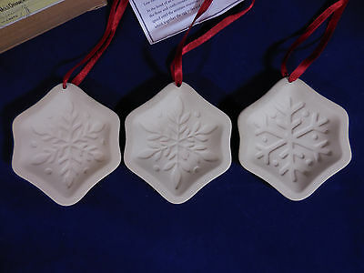 Longaberger Snowflake Cookie Mold Ornaments Set of 3 Pottery