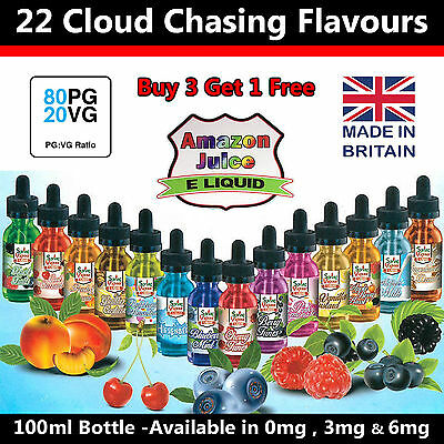 100Ml E Liquid Juice Vape 0Mg , 3 & 6 By Amazon-E-Juice Uk Eliquid
