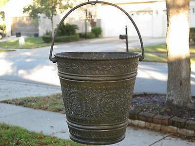 "6"" Antique Persian Islamic embossed Copper Brass Bucket Pail Cauldron w/Handle"