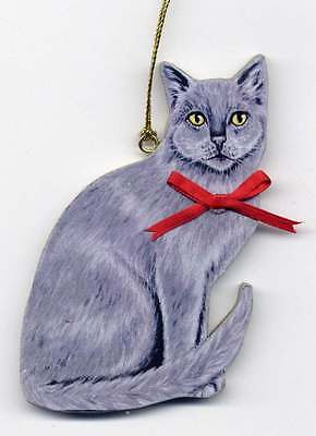 GRAY CAT Wooden ORNAMENT - Hand Crafted - Personalized w/NAME !