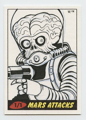 MARS ATTACKS sketch card : 2012 Topps Heritage : Rich Molinelli