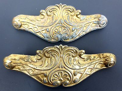 Pair Vintage Antique Ornate Victorian Drawer Dresser Pull Handles by E.H.M. Co.