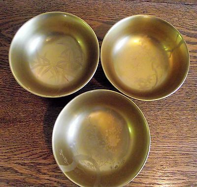"""Three Vintage Japanese Etched Gold Gilt Bowls """"ST"""" Cherry Blossom Bamboo Maple"""