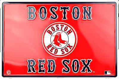 "Boston Red Sox Sign 18"" X 12"" Embossed Metal Large Red Pair Of Socks Man Cave"