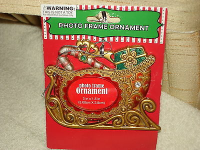 Gorgeous Golden Ornately Decorated Christmas Sleigh Photo Ornament: New On Card
