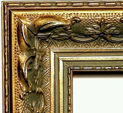 "1.75"" wide x 228"" Gold Ornate Picture Frame Moulding, Antiqued, WOOD"