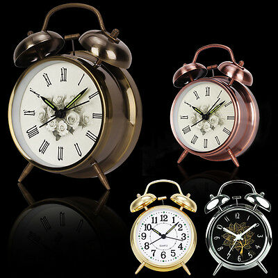 Vintage Alarm Clock Silent Noiseless Dial Bell Quartz Night Desk Table Decor