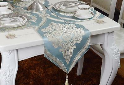 Vintage Embroidery Table Runner Brocade Floral Wedding Table Runner with Tassel