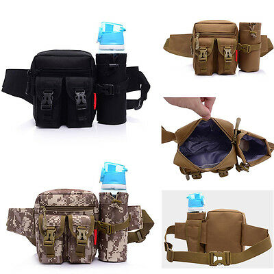 Military Climbing Hiking Pouch Fanny Pack Waist Bag Bum With Water Bottle Holder